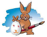 Osterhase mit Ei und Pinsel
