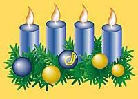 Adventsgirlandekranz mit vier Kerzen
