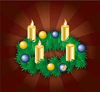 Adventskranz mit drei Kerzen