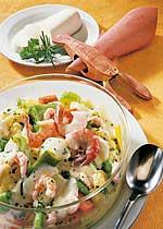Gemüseauflauf mit Meeresfrüchten