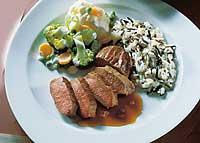 Lammrücken mit Rahmgemüse und Reis