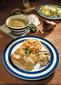 Putenschnitzel mit Steinpilz-Sauce und Salat