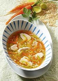 Hühnersuppe mit Reis für Singles