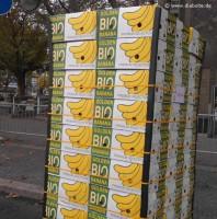 Kartons mit Bio-Bananen