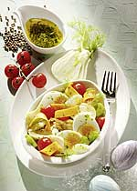 Fenchelsalat mit Eiern und Tomaten