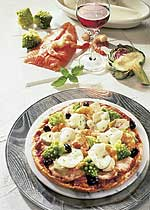 Festtagspizza mit Lachs
