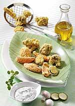 Frittiertes Gemüse mit Feta-Dip