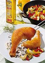 Hähnchenschenkel mit Paprikagemüse