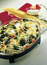 Makkaroni mit Spinat, Fleischbällchen und Mozzarella