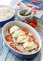 Überbackenes Pangasiusfilet mit Pesto und Zottarella