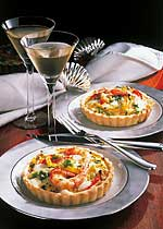 Quiches mit Mozzarella und Garnelen