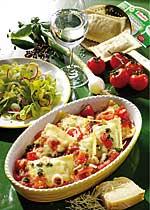 Überbackene Maultaschen in Tomaten-Sauce